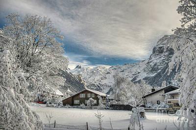 Winter Dream In Engelberg Art Print by Caroline Pirskanen
