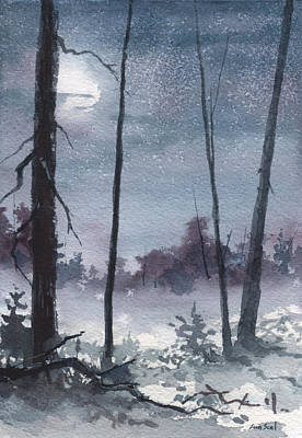 Winter Night Painting - Winter Dreams by Sean Seal