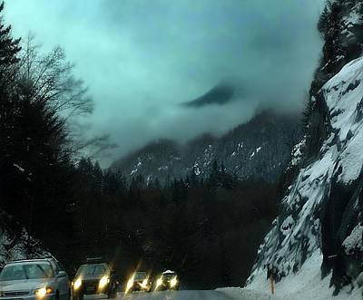 Headlight Mixed Media - Winter Drive In The Coast Mountains by Janet Ashworth