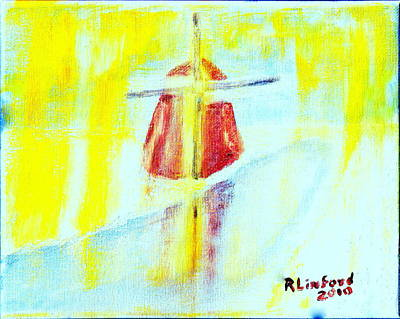 Painting - Winter Dutch Windmill 1 by Richard W Linford