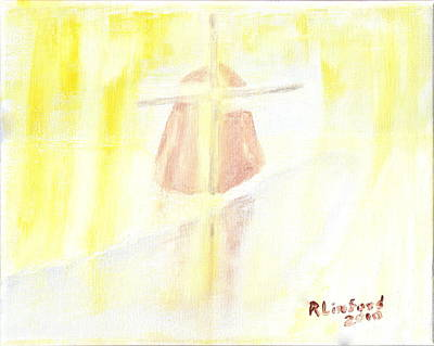 Painting - Winter Dutch Windmill 3 by Richard W Linford