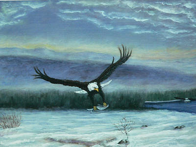 Painting - Winter Eagle In Flight by Dan Wagner