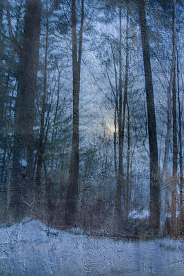 Winter Early Morning Setting Moon Art Print
