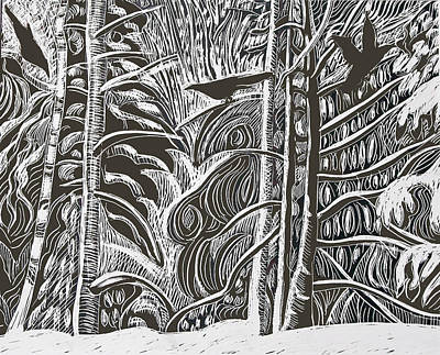 Winter Etching Art Print by Grace Keown