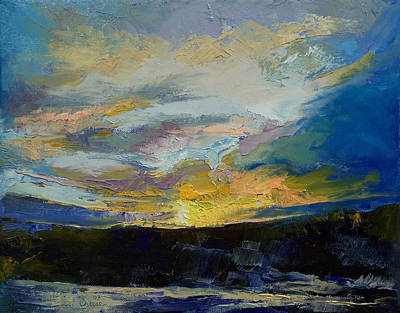 Impasto Oil Painting - Winter Sunset by Michael Creese