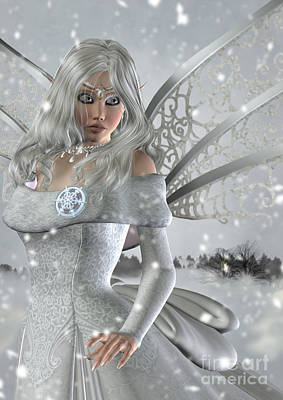 Winter Fairy In The Snow Art Print