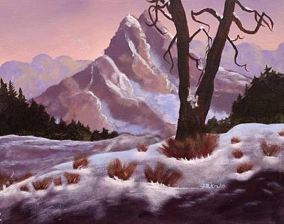 Snow Scape Painting - Winter Fantasy Snowy Mountains by Johanna DK Cryer