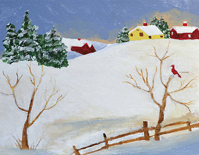 Primitive Art Painting - Winter Farm by Bryan Penzer