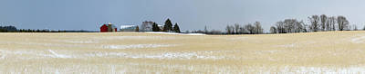 Barns In Snow Photograph - Winter Farm In Door County, Wisconsin by Panoramic Images