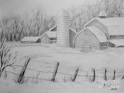Drawing - Winter Farm by Peggy Miller