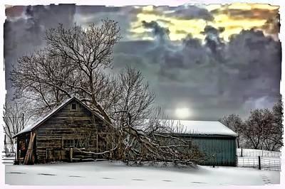 Winter Farm Polaroid Transfer  Art Print by Steve Harrington