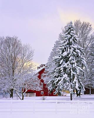 Winter Farm Scene Art Print by Timothy Flanigan