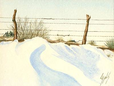 Painting - Winter Fence by Lew Davis