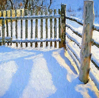 Digital Art - Winter Fence by Yury Malkov