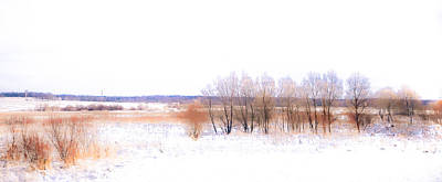 Watercolor Winter Scene Photograph - Winter Fields. In Color by Jenny Rainbow