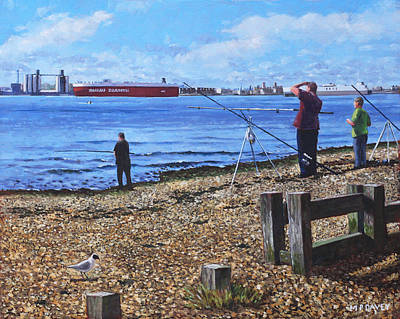 Painting - Winter Fishing At Weston Shore Southampton by Martin Davey