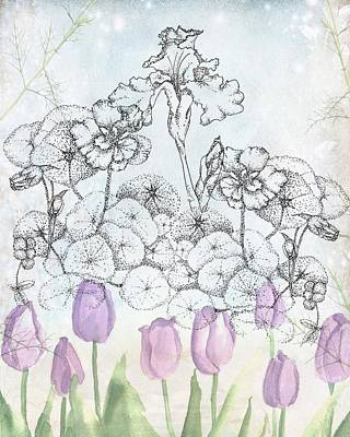 Pen And Ink Drawing Digital Art - Winter Flowers  by Cathie Richardson
