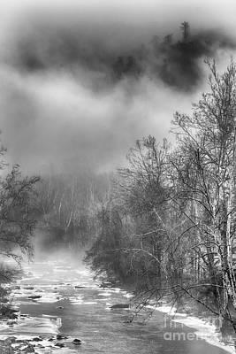 Winter Fog Cherry River Art Print