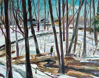 Millbury Painting - Winter Footbridge by Scott Nelson