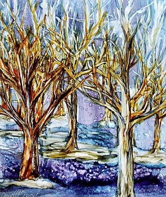Photograph - Winter Forest Alcohol Inks by Danielle  Parent