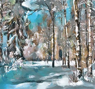 Happy Easter Digital Art - Winter Forest Blue by Yury Malkov
