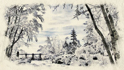 Excellent Christmas Gifts Digital Art - Winter Forest Landscape 13 by Yury Malkov