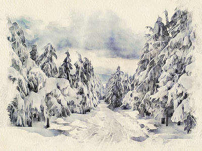 Excellent Christmas Gifts Digital Art - Winter Forest Landscape 14 by Yury Malkov