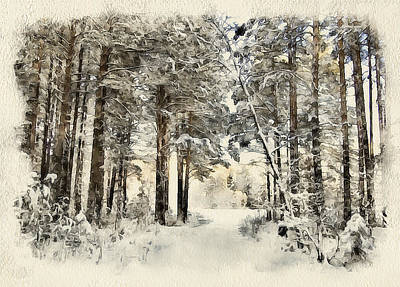 Excellent Christmas Gifts Digital Art - Winter Forest Landscape 19 by Yury Malkov