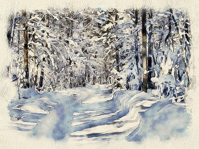 Excellent Christmas Gifts Digital Art - Winter Forest Landscape 22 by Yury Malkov