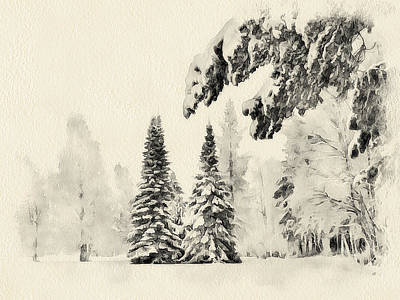 Excellent Christmas Gifts Digital Art - Winter Forest Landscape 3 by Yury Malkov