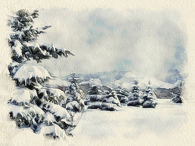 Excellent Christmas Gifts Digital Art - Winter Forest Landscape 5 by Yury Malkov