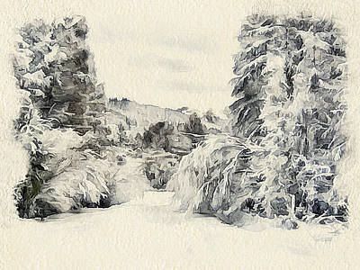Excellent Christmas Gifts Digital Art - Winter Forest Landscape 7 by Yury Malkov