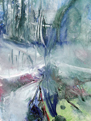 Art Print featuring the painting Winter Forest Painting by John Fish