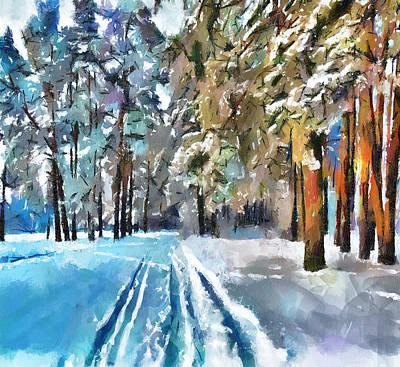 Happy Easter Digital Art - Winter Forest Road by Yury Malkov