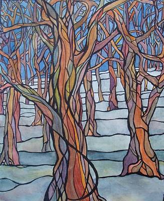 Stainglass Painting - Winter Forest by Vanessa Williams