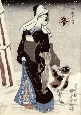 Winter, From The Series Shiki No Uchi The Four Seasons Colour Woodblock Print Art Print by Utagawa Kunisada