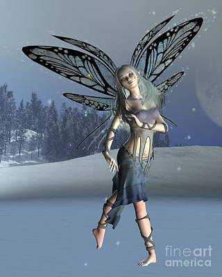 Moon Fairies Blue Snow Woman Digital Art - Winter Frost Fairy by Fairy Fantasies