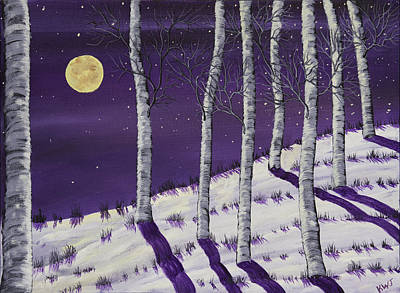 Winter Full Moon And Birch Trees  Painting Art Print
