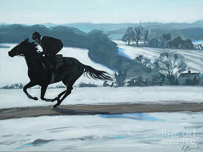Winter Gallops Art Print by Leigh Banks