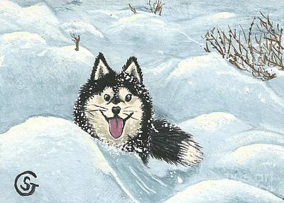 Winter Games -- Husky Style Art Print by Sherry Goeben