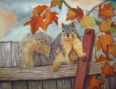 Squirrel Watercolor Painting - Winter Gathering by Karen Park