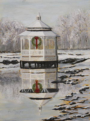 Painting - Winter Gazebo by Alan Mager
