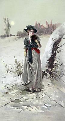 Painting - Winter Girl, C1895 by Granger