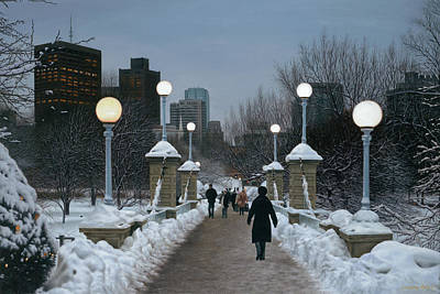 Boston Painting - Winter Glow - Boston Common by Julia O'Malley-Keyes