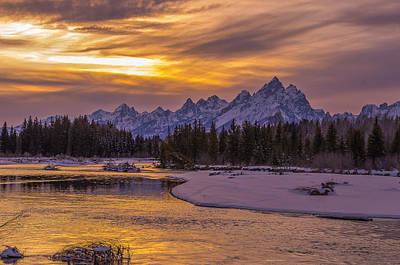 Winter Glow Over The Tetons Art Print