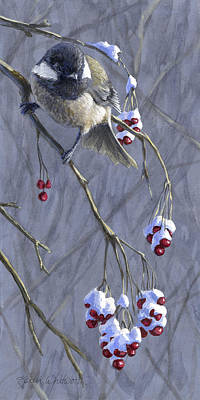 Birds Royalty-Free and Rights-Managed Images - Winter Harvest 1 Chickadee Painting by Karen Whitworth