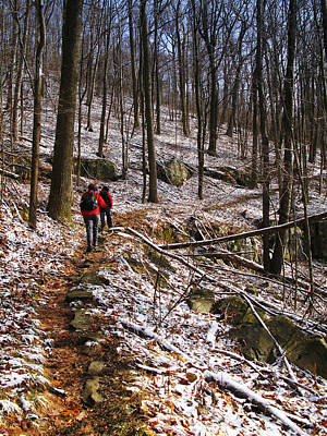 Photograph - Winter Hikers At Frozen Head State Park by Melinda Fawver