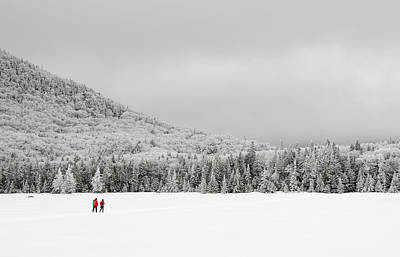 Winter Hikers On Lonesome Lake Art Print by Ken Stampfer