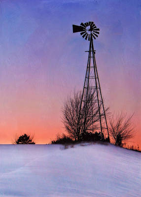 Papillion Photograph - Winter Hill - Evening by Nikolyn McDonald
