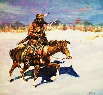 Westerns Painting - Winter Hunt by Al Brown